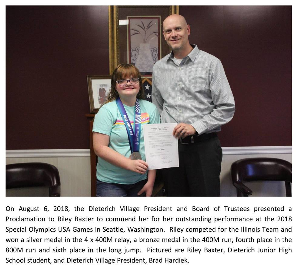 Village of Dieterich Commends Riley Baxter