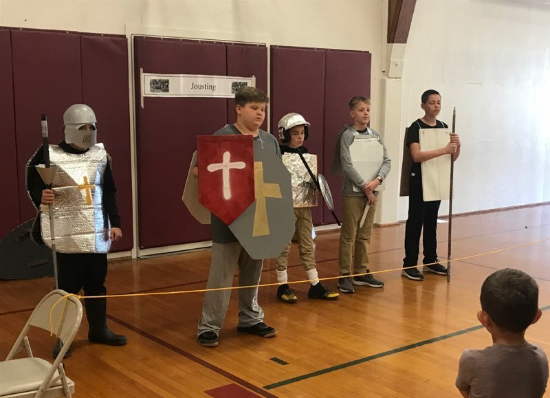 6th graders provided a Medieval Fair for younger students on May 20, 2019.