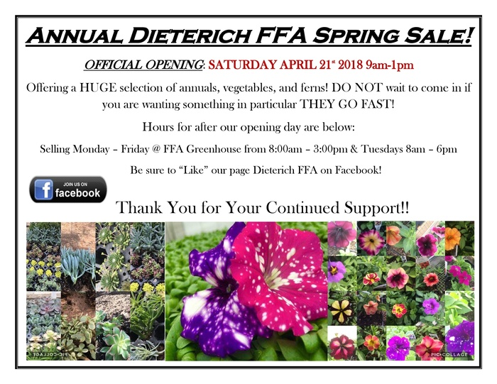 Annual FFA Spring Plant Sale starts Saturday, April 21, 9:00-1:00